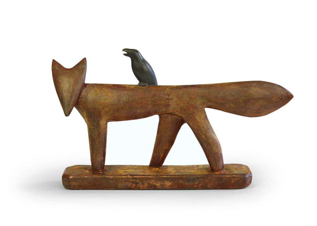 Fox with crow - NEW for 2020 - 34x20cm - iron resin ltd edition of 50 - £495